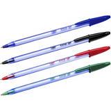 BiC Cristal Soft Bolígrafo de punta de bola, punta de 1,2mm, cuerpo azul claro transparente, tinta roja
