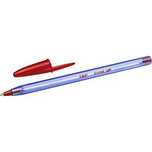 BIC® Cristal Soft Bolígrafo de punta de bola, punta de 1,2 mm, cuerpo azul claro transparente, tinta verde