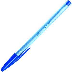 BIC® Cristal Soft Stylo bille à capuchon pointe large 1,2 mm bleu