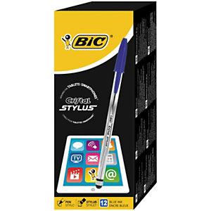 BIC® Cristal Stylus Bolígrafo de punta de bola, punta mediana, cuerpo translúcido, tinta azul