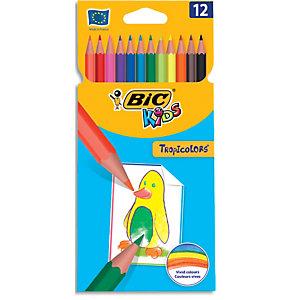 BIC Etui 12 crayons de couleur TROPICOLOR2 (version sans bois). Coloris assortis