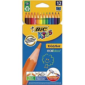 BIC Etui carton 12 crayons de couleur EVOLUTION. Longueur 17,5cm. Coloris assortis