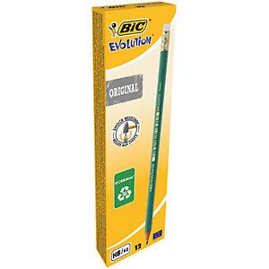 BIC® Evolution Crayon de papier avec gomme mine HB corps hexagonal vert