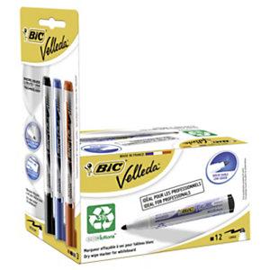 BIC® Marcatori per lavagna Velleda® 1701 Ecolutions™ + Velleda® 1701 a inchiostro liquido, Punta rotonda, Spessore tratto di 1,4 - 2,3 mm, Colori assortiti: nero, blu e rosso