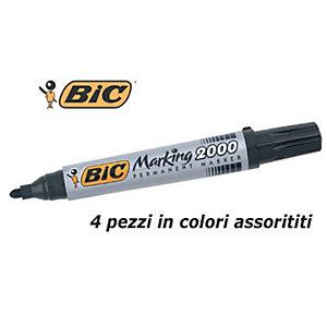 BIC® Marking™ 2000, Marcatore permanente, Punta tonda, 1,7 mm, Assortiti (confezione 4 pezzi)