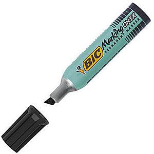 BIC® Marking Onyx 1481 - Marqueur permanent pointe biseautée trait 2,7 à 6,2 mm - Noir