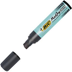 BIC® Marking Onyx 1891 - Marqueur permanent corps métal géant, Pointe biseautée trait de 9,9 mm - Noir