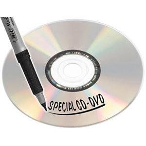 BIC® Marking™ Rotulador permanente para CDs y DVDs de punta redonda fina, trazo de 0,6 mm, negro