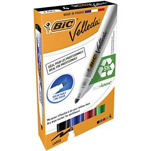 BIC® Marqueur pour tableau blanc Velleda® 1701 couleurs assorties pointe ogive moyenne en paquet de 4