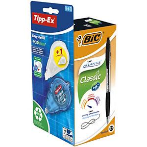 BIC® Offerta 12 Penne a sfera a scatto Atlantis nere + 1 correttore ricaricabile Easy Refill + 1 refill compresi nel prezzo