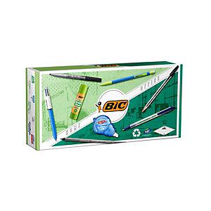 BIC® Office Eco Set Pack de 9 piezas: bolígrafos, lápices, portaminas, barra de pegamento, cinta correctora, marcador permanente