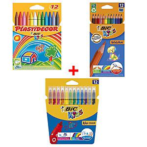 BIC® Pack Ahorro Dibujar y Pintar: Ceras, Lápices y Rotuladores de colores