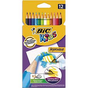BIC Pochette 12 crayons de couleur aquarellable AQUACOULEUR. Corps 17,5cm. Coloris assortis