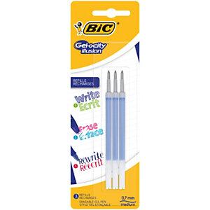 BIC® Recharge d'encre pour roller gel effaçable Gelocity ILLUSION, pointe moyenne 0,7 mm - Bleu
