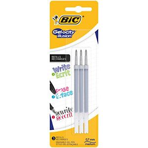 BIC® Recharge d'encre pour roller gel effaçable Gelocity ILLUSION, pointe moyenne 0,7 mm - Noir