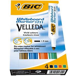 BIC® Velleda 1711 Marqueur effaçable tableau blanc pointe ogive 1,9 mm - Pochette 4 couleurs (noir, bleu, rouge, vert)