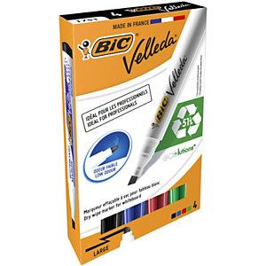 BIC® Velleda® 1751 Rotulador para pizarra blanca de punta biselada ancho línea de 3,7-5,5 mm colores variados Caja de 4
