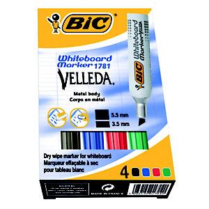 BIC® Velleda 1781 Marqueur effaçable tableau blanc pointe biseautée 3 - 6 mm - Pochette 4 couleurs (noir, bleu, rouge, vert)