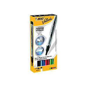 BiC Velleda Liquid Ink Pocket Marqueur effaçable tableau blanc pointe ogive 2,3 mm - Pochette 4 couleurs