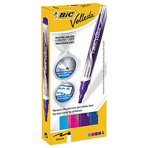 BIC® Velleda® Rotulador para pizarra blanca de punta redonda ancho línea de 2,2 mm colores variados Caja de 4