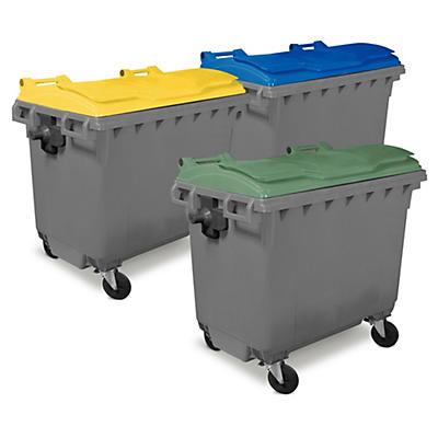 Bidone raccolta differenziata 4 ruote con coperchio colorato capacità 1100 litri