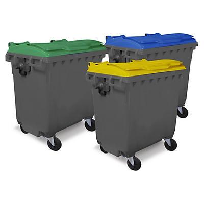 Bidone raccolta differenziata 4 ruote con coperchio colorato capacità 660 litri