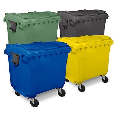 Bidone raccolta differenziata colorato con 4 ruote capacità 1100 litri