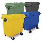 Bidone raccolta differenziata colorato con 4 ruote capacità 660 litri