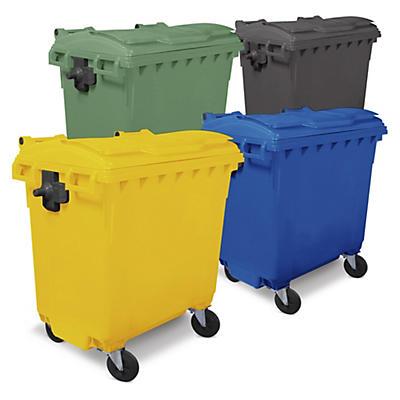 Bidone raccolta differenziata colorato con 4 ruote capacità 770 litri