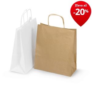 a9aa5053b Biele a hnedé papierové tašky s papierovým motúzom RAJASHOP