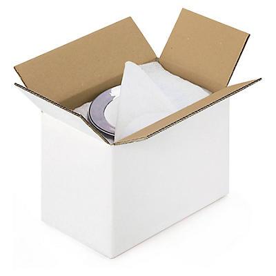 Biele klopové krabice z päťvrstvovej vlnitej lepenky