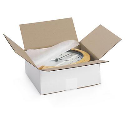 Biele klopové krabice z vlnitej lepenky, ploché