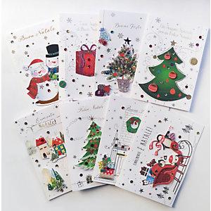 Biglietto Auguri di Natale con applicazioni, 120 x 180 mm, Soggetti natalizi assortiti (confezione 8 pezzi)