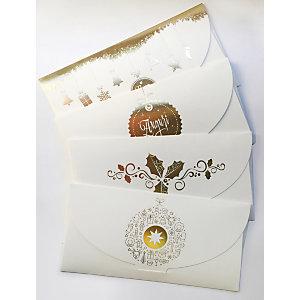 Biglietto Auguri di Natale portasoldi, 220 x 110 mm, Soggetti natalizi assortiti (confezione 4 pezzi)