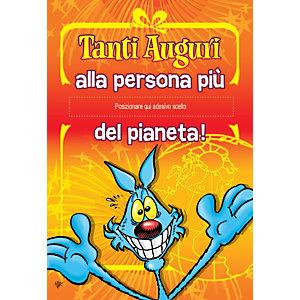 Biglietto Auguri, Lupo Alberto con etichetta adesiva, 12 x 18 cm