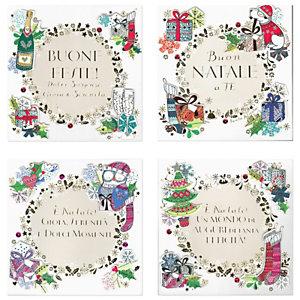 """Biglietto Natale """"Buone Feste"""" decorato a mano, 160 x 160 mm, Soggetti natalizi assortiti (confezione 3 pezzi)"""