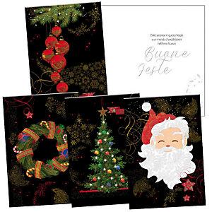 Biglietto Natale con fondo nero e immagini in rilievo, 12 x 18 cm, Soggetti Natalizi assortiti