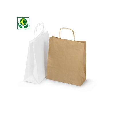 Bílé a hnědé papírové tašky s papírovým motouzem RAJA