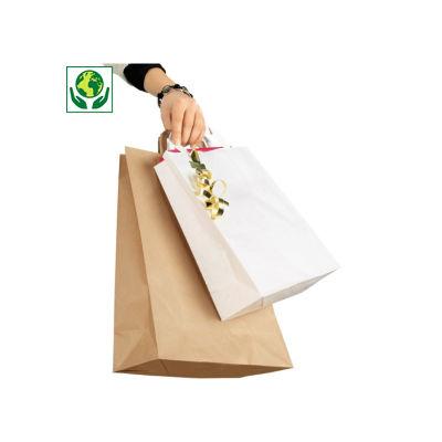 Bílé a hnědé papírové  tašky s papírovými uchy RAJASHOP
