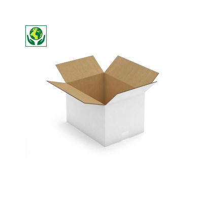Bílé klopové krabice z pětivrstvé vlnité lepenky, paletovatelné