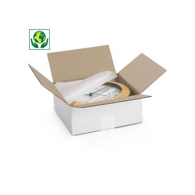 Bílé klopové krabice z třívrstvé vlnité lepenky, A5, A5+, A6