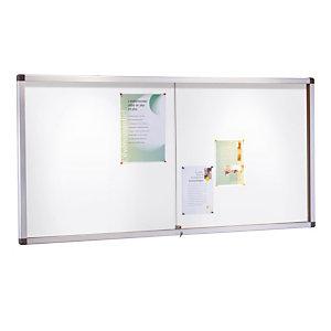 Binnenvitrine met klapdeuren metalen achtergrond 10 vellen