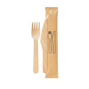 Bis posate, forchetta e coltello in legno di betulla senza tovagliolo (confezione 250 pezzi)