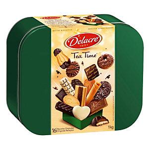 Biscuits Delacre Tea Time, assortiment, boîte métal de 1 kg