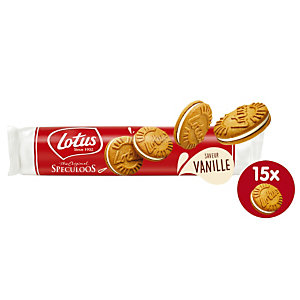 Biscuits Spéculoos -Lotus bakeries- 18 paquets de 2 format XL150g de Spéculoos fourré Vanille
