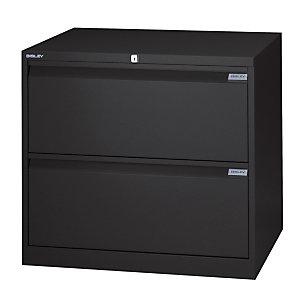 Bisley Classificatore in metallo ad alta capacità, 2 cassetti, Nero