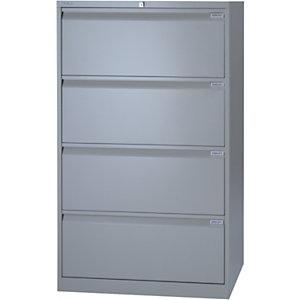 Bisley Classificatore in metallo ad alta capacità, 4 cassetti, Grigio