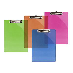Bismark Tabla de pinza portapapeles, A4, plástico, translúcido, colores surtidos