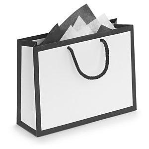 f33175e3ad1 ... Black edge white matt laminated paper gift bags ...