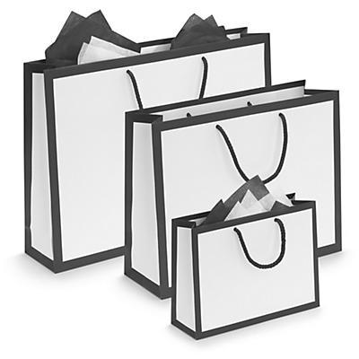 Black edge white matt laminated paper gift bags
